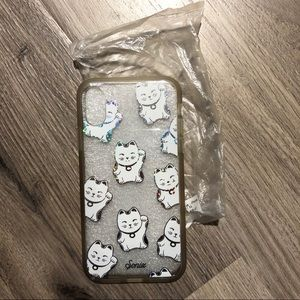 uo holographic lucky cat clear iphone x case
